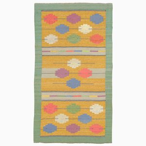 Vintage Yellow Swedish Flatweave Carpet