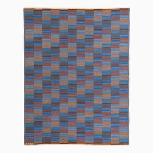 Swedish Flat Weave Rug in Blue & Orange by Marta Maas-Fjetterström