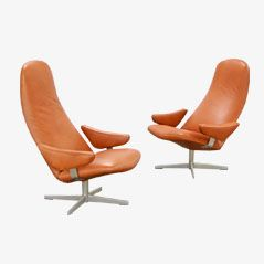 Mid Century Leather Swivel Lounge Chairs by Alf Svensson, Set of 2