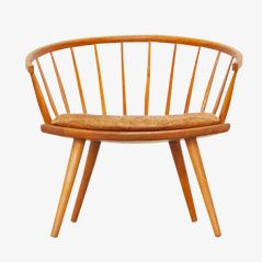 Maple Wood Chair with Leather Cushion by Yngve Ekström for Stolfabriks AB