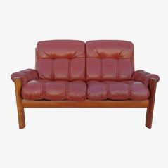 Vintage 2 Seater Leather Sofa from Glostrup Mobelfabrik, 1970s