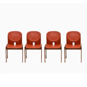 Model 121 Chairs in Leather by Afra & Tobia Scarpa for Cassina, Set of 4