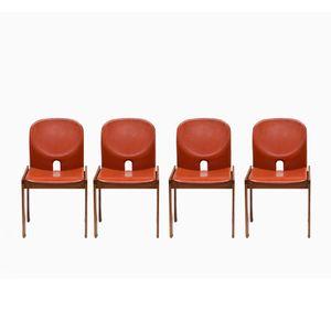 Modell 121 Stühle aus Leder von Afra & Tobia Scarpa für Cassina, 4er Set