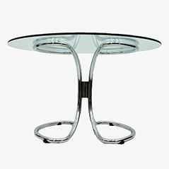 Vintage Italian Glass and Chromed Steel Dining Table, 1970s