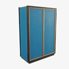 Vintage Blue Pavatex Wardrobe by Kurt Thut for Thut Mobel