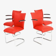 Vintage Red Vinyl Armchairs from De Witt, 1950s, Set of 4