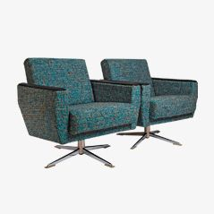 Mid Century Lounge Swivel Chairs, 1950s, Set of 2