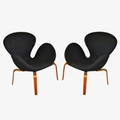 Svanen Chairs von Arne Jacobsen for Fritz Hansen, 2er Set