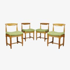 Oak Dining Chairs by Guillerme & Chambron, 1970s, Set of 4