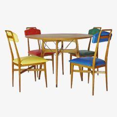 Italian Multicoloured Ashwood Dining Set, 1950s