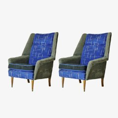 English Upholstered Armchairs, 1950s, Set of 2