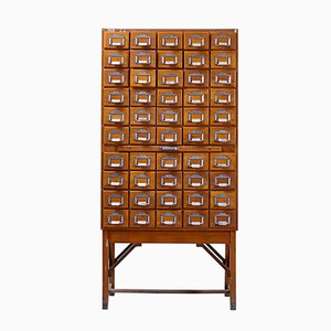 Tall Hungarian Industrial Library Card Cabinet