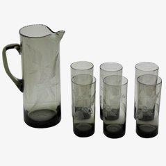Brocca e sei bicchieri in vetro fumé, anni '50