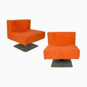 Chaises Modernistes Oranges par Knoll, 1960s, Set de 2