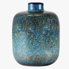 Blaue Vase aus Steinzeug von Carl Harry Stålhane für Rörstrand, 1950er