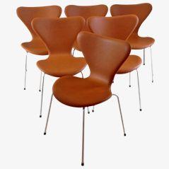 3107 Syveren Elegance Wax Esszimmerstühle von Arne Jacobsen für Fritz Hansen, 6er Set
