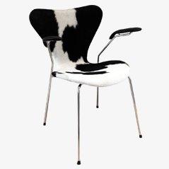 3207 Syveren Kuhfell Esszimmerstuhl von Arne Jacobsen für Fritz Hansen