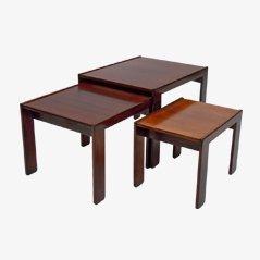 Tavolini a incastro in palissandro di Afra & Tobia Scarpa per Cassina, anni '60, set di 3