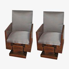 Walnuss Art Déco Lehnstühle aus Frankreich, 1930er, 2er Set