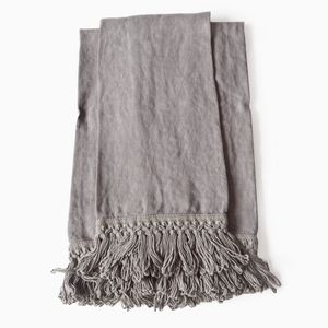 Set of Two Linen Bath Towels with Long Fringe by Once Milano