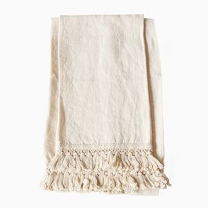 Set of Two Linen Bath Towels with Fringe by Once Milano