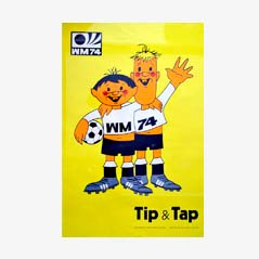 Tip & Tap WM 1974 Plakat von Horst Schäfer für Mitgel Bonn-Impekoven