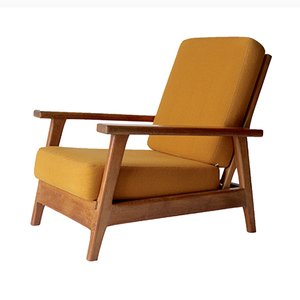 Vintage Dutch Low Oak Armchair from EMS Overschie