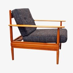 German Cherry Wood Lounge Chair, 1960s
