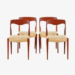 Scandinavian Teak Dining Chairs, Set of 4
