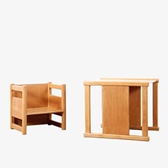 Scandinavian Reversible Children's Table and Chair Set by Magnus L. Stephensen & Kay Bojesen