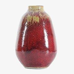 Scandinavian Red Ceramic Vase by Henning Nilsson for Höganäs