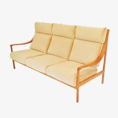 teak sofa mit hoher r ckenlehne 1960er. Black Bedroom Furniture Sets. Home Design Ideas