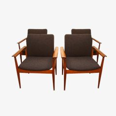 Model 209 Diplomat Armchairs by Finn Juhl for France & Son, Set of 4