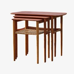 Teak and Cane Nesting Tables, 1950s, Set of 3