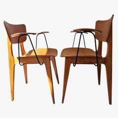 Mid-Century Bridge Armchairs by Roger Landault for Boutier, Set of 2