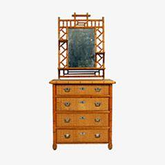 Swedish Faux Bamboo Dresser & Mirror