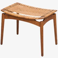 Danish Oak & Cane Stool, 1950s