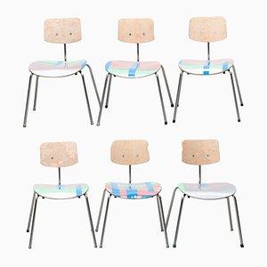 Silberne und Neonfarbene Stühle von Atelier Staab, 2017, 6er Set
