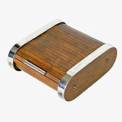 Industrielle Teak-Rahmen Rollladen Zigaretten Kiste von Carl Auböck