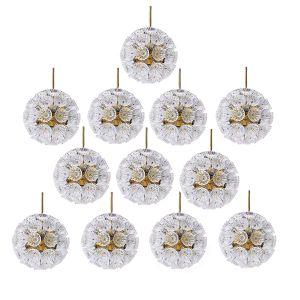Deutsche Starburst Sputnik Kronleuchter mit 54 Glasblumen, 1965, 12er Set