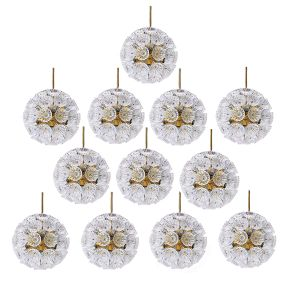 German Starburst Sputnik Chandeliers with 54 Glass Flowers, 1965, Set of 12