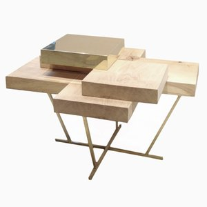 Pixel Table in Oak & Brass by Ilia Potemine