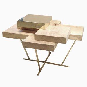 Pixel Table in Oak & Brass by Ilia Potemine