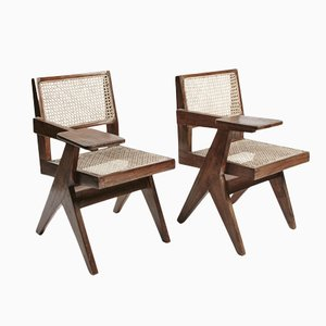 Teak and Wicker Desk Chairs by Pierre Jeanneret, Set of 2