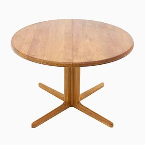 Mid-Century Round Teak Dining Table with Two Extension Plates