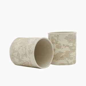 Ceramic Cups in Speckled and White Clay by Maevo, 2017, Set of 2