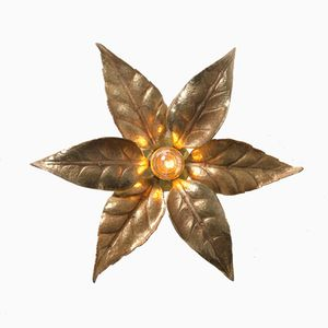 Belgian Brass Flower Wall Light from Massive Lighting, 1970s