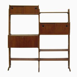 Dutch Mid-Century Teak Modular Wall System from Simpla Lux, 1950s