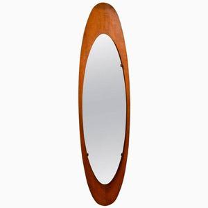 Mid-Century Italian Wood Surf Mirror, 1960s