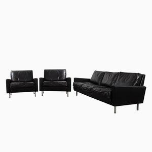 schwarzes vintage maralunga zwei sitzer ledersofa von vico. Black Bedroom Furniture Sets. Home Design Ideas